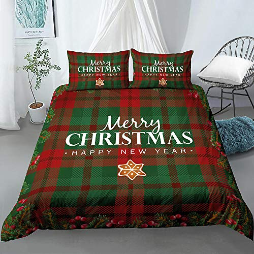 Navidad Rojo Verde A Cuadros Juego De Ropa De Cama (3 Piezas, Microfibra, 200 X 200 Cm Funda Nórdica De, 1 Funda Nórdica Con Cremallera Y 2 Fundas De Almohada De ) Cómodo Suave Fácil De Limpiar