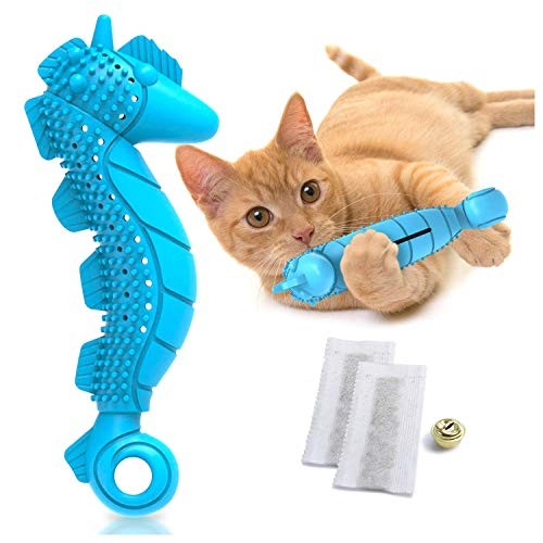 Ronton Cat Toothbrush Catnip Toy - Durable Hard Rubber - Cat Dental Care, Cat Interactive Toothbrush Chew Toy (1-Pack Blue)