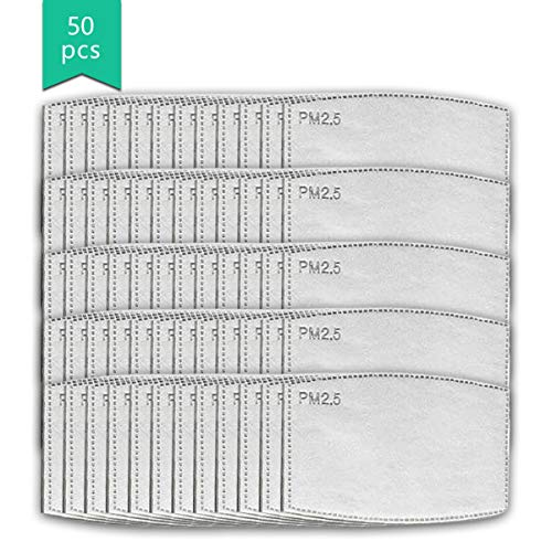 Geactiveerd -Carbon -Filters, Non-Woven Doek met 5 Lagen Vervangbare Beschermende Onderdelen Filters P-M 2.5 voor Vrouwen Mannen Kinderen-50 Stks