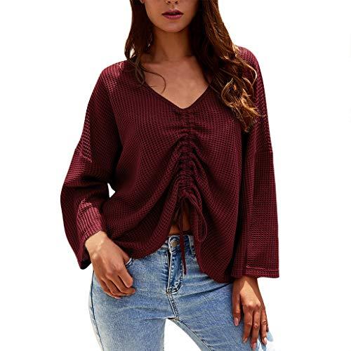 iFRich Tunika für Damen, langärmelig, lockeres T-Shirt, gebogener Saum, Oberteil, einfarbig, Blusen Gr. S, wein