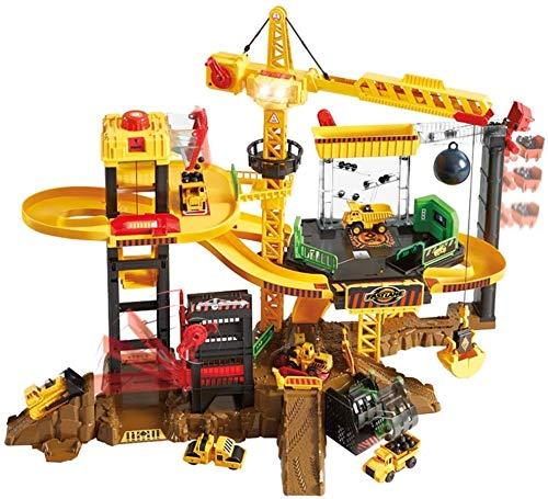 Juguetes de Aprendizaje y Actividad Interacción de Padres e Hijos Torre Infantil Grúa Autovía Juguetes educativos de ingeniería de Alta Velocidad (incluidos 5 automóviles)