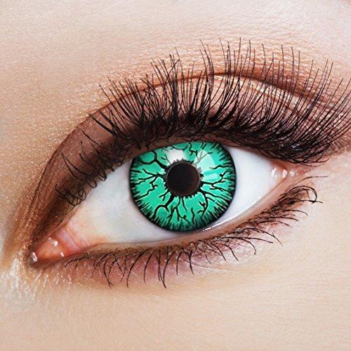 aricona Kontaktlinsen Farblinsen - Grüne Jahreslinsen ohne Stärke - Halloween Kontaktlinsen farbig Horror