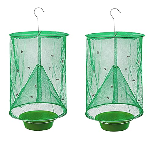 Ranch Fly Trap with Bait Tray , Reusable Fly Trap Flay Catcher Cage for Indoor or Outdoor Family Farms, Park, Restaurants ( 2 Pack)
