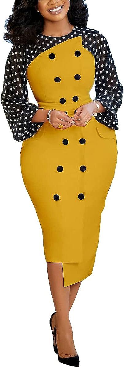 AOMEI Women's Polka Dot Long Sleeve Patchwork Slim Pencil Irregular Peplum Work Dress