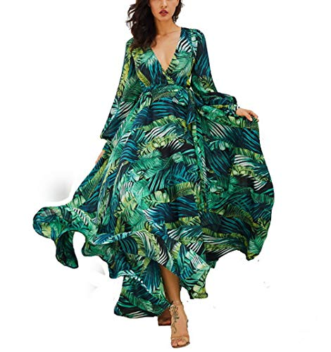 AOOPOO Femme Robe Longue D'été Bohême Maxi Robe Feuille Verte Imprimé Floral Col V Robe de Plage Robe de Vacances Ceinture(XXXL,Vert)