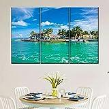 Gyybfhn 3 Piezas Lienzo Pintura,Impresiones En Lienzo 3 Piezas/Set,Moderno Pared Cuadros Decoración del Hogar Sala De Estar Dormitorio,Regalo Creativo,50Cmx70Cmx3(Marco) Muelle De Pesca del Caribe