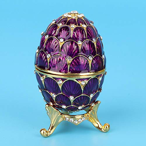 Jewelry Organizer Diamante Trinket Box Vintage Faberge Style Egg Collectible Enameled Easter Egg Decoration Crafts Gift(Purple)