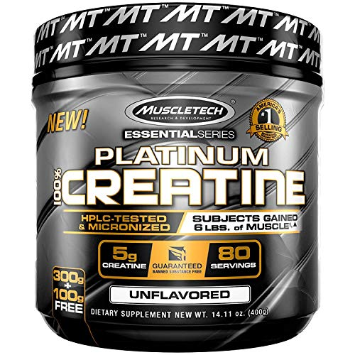 Creatine Monohydrate Powder - Mass Gainer | MuscleTech Platinum Creatine Powder | Pure Micronized Creatine Powder | Post Workout Supplement, Muscle Recovery + Muscle Builder | Unflavored (80 Servings)