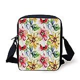 Watercolor Flower,Spring Flower Pattern Watercolor Effect Image Country Style Floral Design Art Decorative,Multi Print Kids Crossbody Messenger Bag Purse