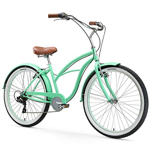"in budget affordable Sixthreezero, 7-speed beach cruiser bike for women, Serenity Green with brown seat / handle, 26 ""…"