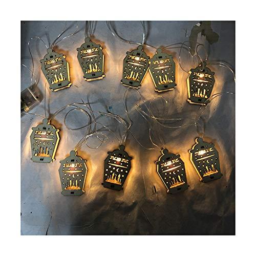 Hktec Eid Mubarak - Cuerda de madera para colgar Ramadán, festival, cadena de luces de luna y estrellas, 10 LED, impermeable, para casa, fiesta, jardín, patio, pasillo, decoración, modelos de pilas