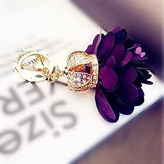Flower Crown Keychain Crystal Keyring Rhinestones Purse Pendant Handbag Charm (Purple)
