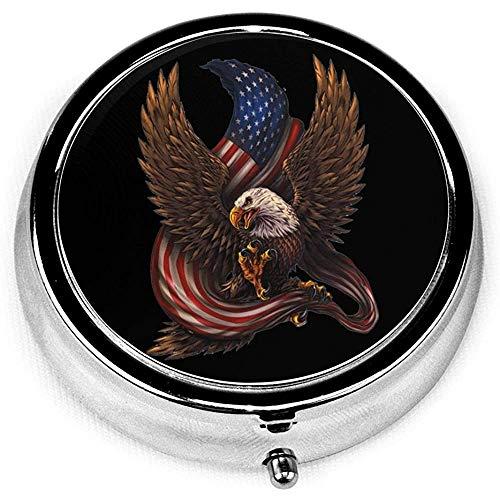 Pastillero redondo; Bandera de águila americana Organizador...