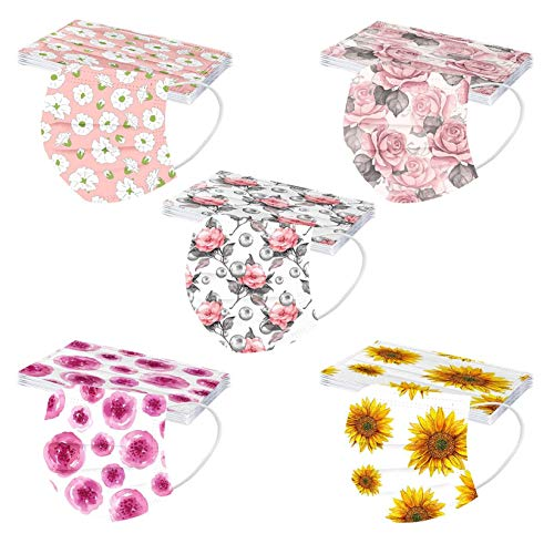 Women's Disposable 3ply Face_Masks for Coronàvịrụs Protectịon Elegant Stylish Floral Design Combinations Spunlace Cloth Fabric Face Mouth Protection (50PCS, A)