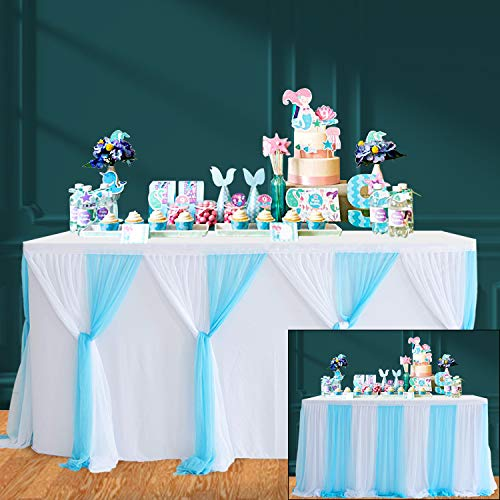 HBBMAGIC Azul Falda de Mesa de Tul Faldas de Mesa Hechas a Mano para Fiesta, Baby Shower, Boda, cumpleaños, Barra de Caramelo, decoración del hogar