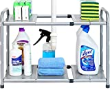SimpleHouseware Under Sink 2 Tier Expandable Shelf Organizer Rack, Silver (expand from 15 to 25 inches)