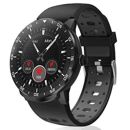Smartwatch Donna Uomo, HopoFit HF06 Orologio Fitness Tracker Circolare Full Touch Impermeabile Smart Watch con Cardiofrequenzimetro da Polso Calorie Contapassi Orologio Sportivo per Android iOS (Nero)