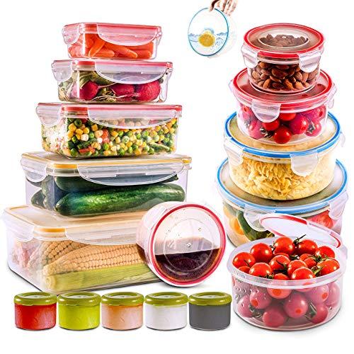 28 recipientes de almacenamiento de alimentos grandes con tapas herméticas, aptos para congelador y microondas, sin BPA, recipientes de plástico para preparación de comidas y juego de cocina. A prueba de fugas, aperitivos, sándwich, salsas y caja de bento