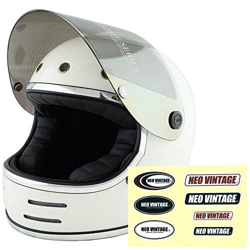 NEO VINTAGE レトロフューチャー フルフェイス SG規格品 ステッカー付 [ホワイト×イエローミラーシールド 白 Mサイズ:57-58cm対応] VT-9 バイクヘルメット