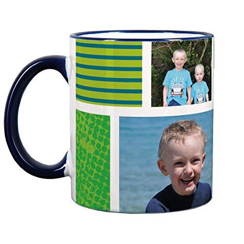 Herz & Heim® Fototasse mit verschiedenen Motiven und Wunschtextaufdruck 3 Fotos Blau