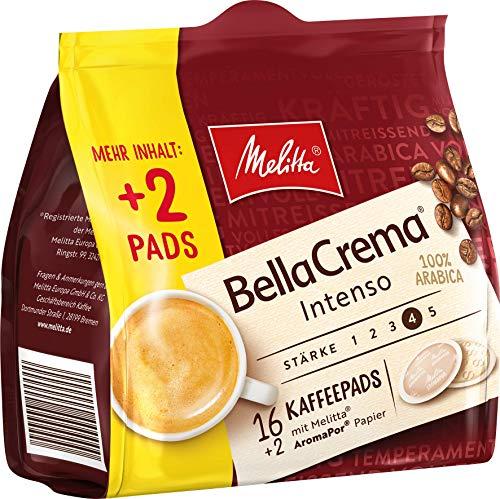 Melitta gemahlener Röstkaffee in Kaffeepads, 10 x 16+2 Pads, 100% Arabica, starkes Aroma, intensiver Geschmack, Stärke 4, BellaCrema Intenso, 1300 g