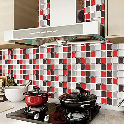 HQL Adhesivo de Pared de Mosaico 3D, 10 Piezas de Papel Tapiz Decorativo de Bricolaje, Adhesivo de azulejo extraíble de 3,94'x 3,94', decoración de la Pared del hogar, para Cocina, baño