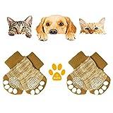KATELUO 4 Piezas Calcetines de Perro Antideslizantes,Calcetines de Perro/Gato,Calcetines de Mascotas con Refuerzo de Goma-Control de Tracción/Usar en Interiores/Ajuste para Perros Pequeños (S, Marrón)