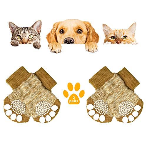 KATELUO 2Paar Anti-Rutsch Hundesocken,Indoor Anti-Rutsch Socken für Hunde und Katzen,Haustier Socken,Hundesocken mit Gummiverstärkung für Pfotenschutz und Traktionskontrolle (L, Braun)