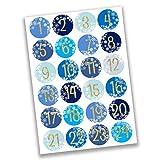 Papierdrachen 24 Adventskalender Zahlen Aufkleber - Eiskristalle - kaltes blau Nr 26 - Sticker 4 cm - zum Basteln und Dekorieren