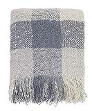 Fennco Styles Cozy Faux Mohair Plaid Fringed Soft Warm Throw Blanket, 50' x 60' (Blue)