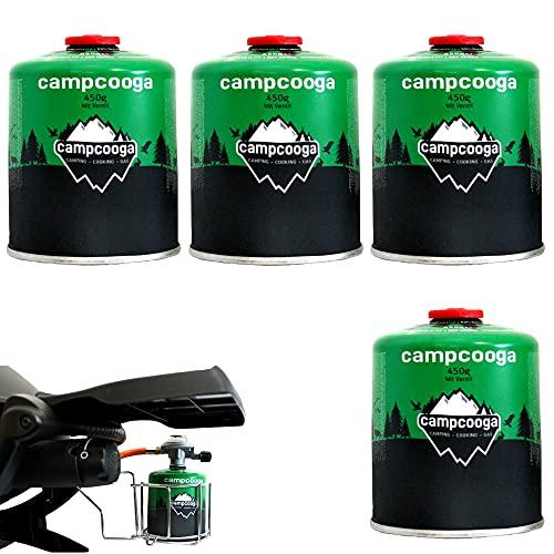 450g Gaskartusche mit Gewinde Schraubkartusche mit Ventil EN417 für Gasgrill Tischgrill Gaskocher Campingkocher (4X 450g Gaskartusche)