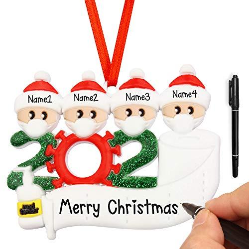 HiStock Christmas Tree Decoration Pendant Family, Personalized Quarantine Christmas Ornament Kit, Christmas Hanging Ornaments 2020 Family Home Decor Xmas Gifts