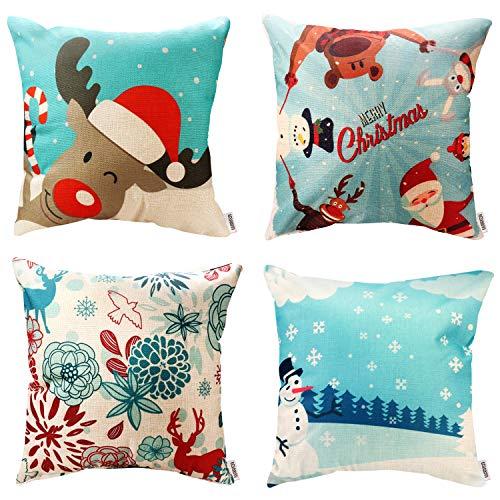WEYON Throw Pillow Covers 4 Pack Print Snowman,Xmas Deer,Santa Claus,Merry Christmas Home Decorative Accent Pillow Cases 18 x 18 Inch, Cotton Linen
