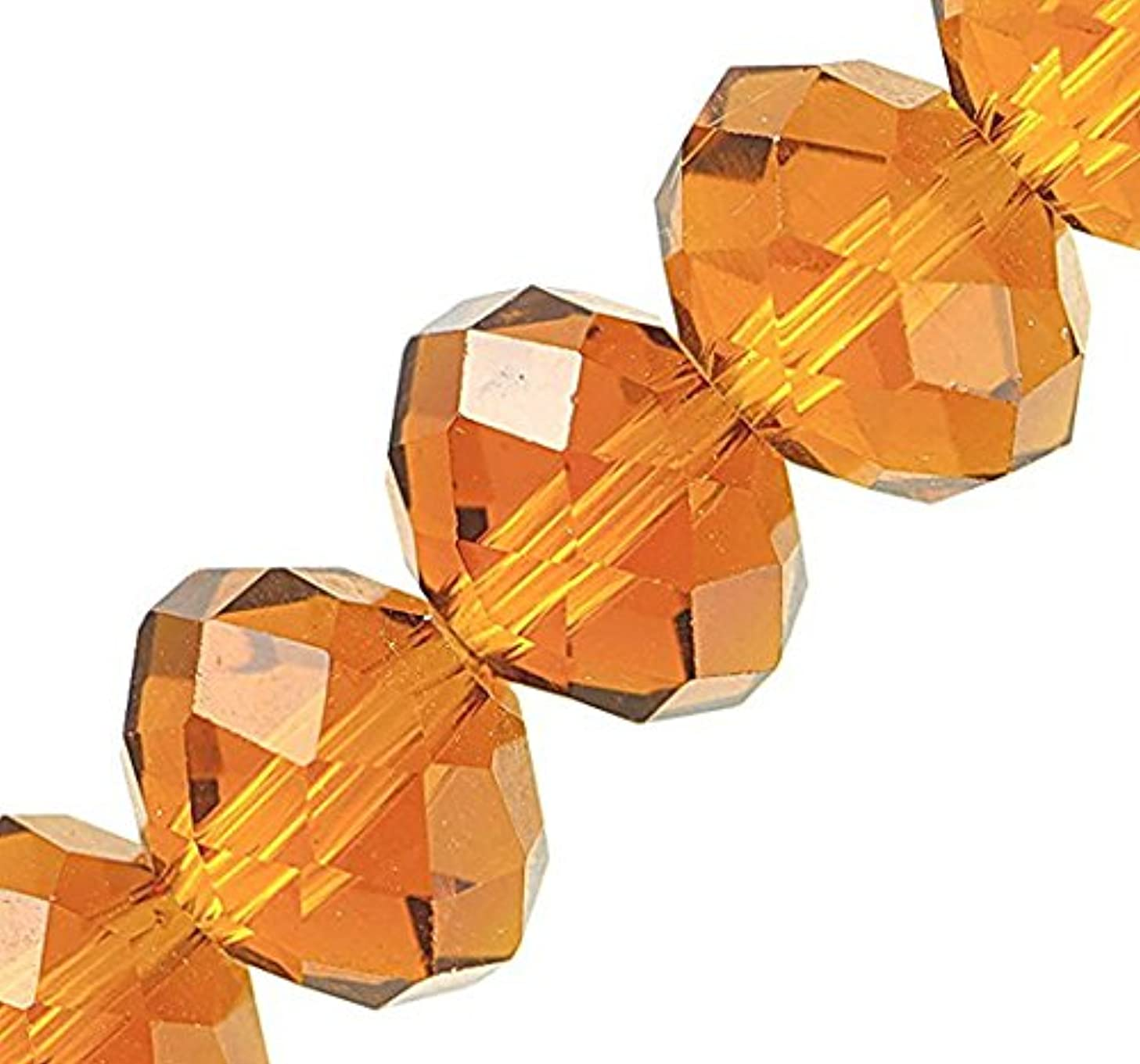 Linpeng 130pcs 10x12mm Faceted Crystal Beads for for Jewelry Making, 10 x 12mm, Citrine