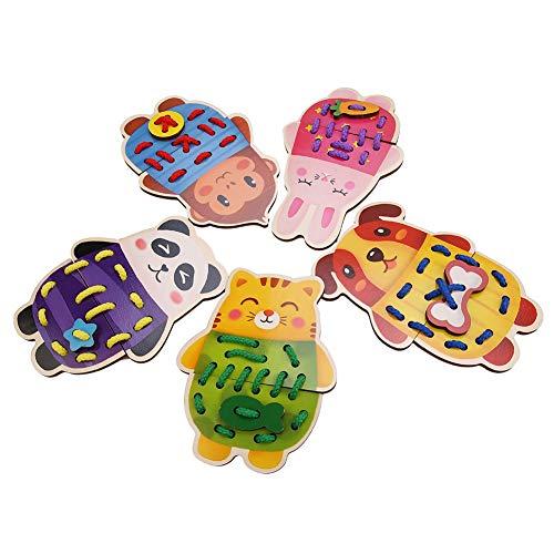 Mxtech Juguetes de enhebrado de Animales de Madera Coloridos, Juego de Actividades de Encaje y rastreo de Animales de zoológico de Dibujos Animados livianos y Suaves para 1 2 3 años