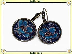 Pendientes retro magnolia flores azul noche pato marrón pato resina latón bronce 2cm regalo personalizado Navidad aniversario de boda invitados día de la madre parejas