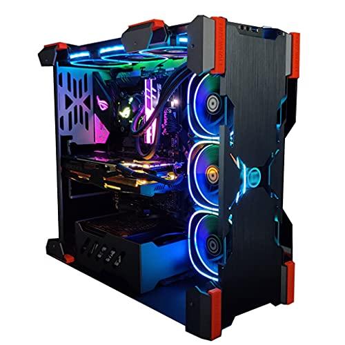 Caja PC ATX,Mainframe de concepto de forma especial de torre media ATX, admite refrigeración por agua 360, vidrio transparente doble transparente de lado completo y se puede instalar verticalmente