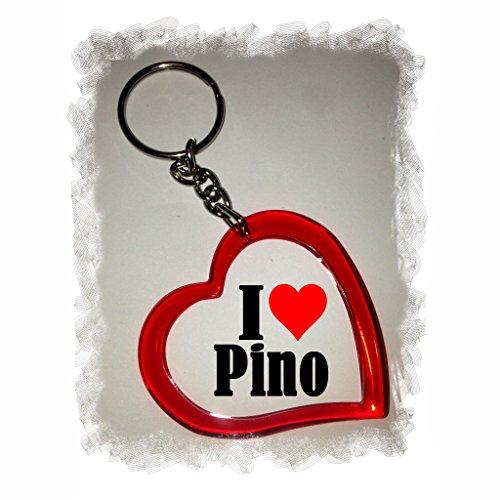 Druckerlebnis24 Herz Schlüsselanhänger I Love Pino - Exclusiver Geschenktipp zu Weihnachten Jahrestag Geburtstag Lieblingsmensch