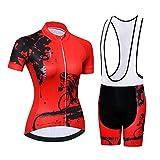 Conjunto de Jersey de Ciclismo para Mujer, Jerseys de Ciclo de Manga Corta de Secado rápido Traje de MTB Transpirable Anti Sudor para Bicicleta Camisa de Bicicleta de montaña de Verano