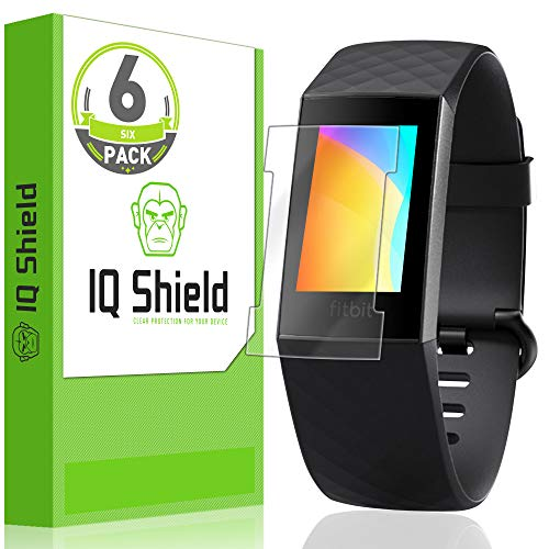 IQ Shield Screen Protector Compatible with Fitbit Charge 3 (6-Pack)(Compatible with Charger)(Version 2) Anti-Bubble Clear Film