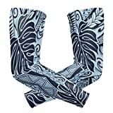 Compression Arm Sleeve Polynesian Tattoo Tapa Designs In Blue Elbow Support Uv Sun Protection For Outdoor Sports Golf Baseball Bicycle 1 Pair