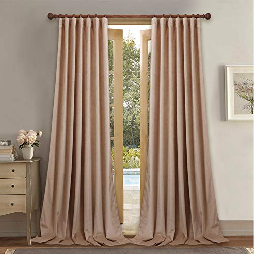 "StangH Living Room Velvet Curtains for High Ceiling Wall Panels, Back Tab Top 120"" Long Sunlight & Heat Blocking Drapes for Princess Room / Country House, Beige Blush, 52 x 120 Each Panel, 2 Pcs"