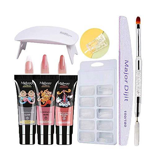 nails Gel kit,Anself Gel 3 colores de manicura de secado rápido Lámpara de uñas UV Moldes de uñas Kit de extensión de uñas
