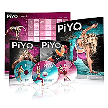 Chalene Johnson s PiYo Base Kit DVD Workout with Exercise Videos + Fitness Tools and Nutrition Guide Home Gym Bodyweight Workouts Program Meals Plans and Tape Measure Included 3 DVDs