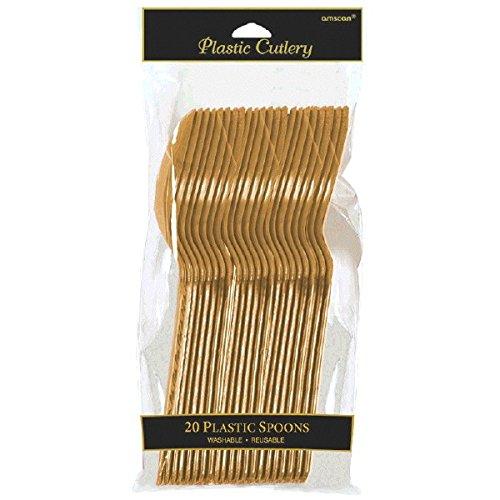 amscan International - Confezione da 20 cucchiai, Colore: Oro