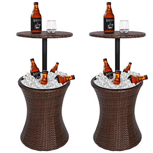 ZENSTYLE Height Adjustable Cool Bar Rattan Style Outdoor Patio Table Designed Cooler All-Weather Wicker Bar Table with Ice Bucket for Party, Pool, Deck, Backyard (Brown, Pack of 2)