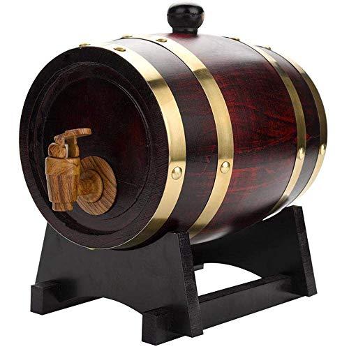 Yao Barril de Roble, 1.5L / 5L / 10L Barril de Vino de Madera de Roble Vintage de Madera para Cerveza Whisky Ron Puerto Barril de Almacenamiento con Grifo