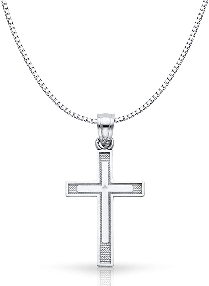 14K White Gold Cross Religious Charm Pendant with 0.8mm Box Chain Necklace