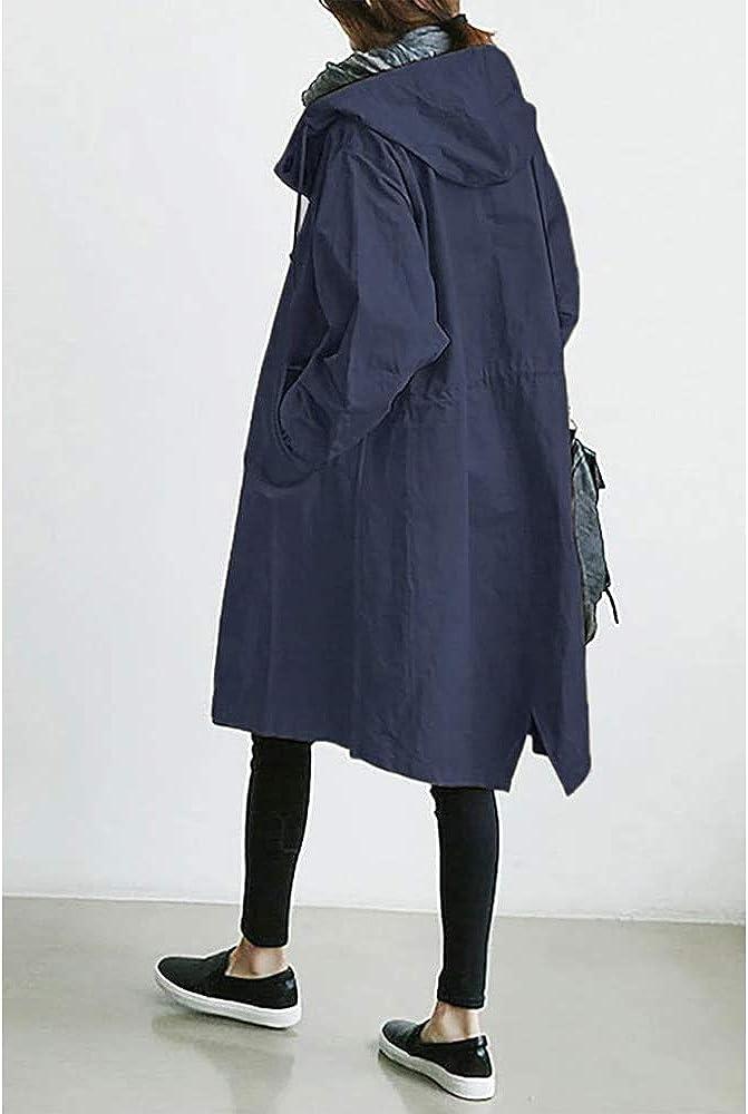 Godoboo Damen Frühling Herbst Mantel Wasserdicht Solide Windjacke Outdoor Jacken mit Kapuze Regenmantel Windjacke Regenmantel Navy Blau