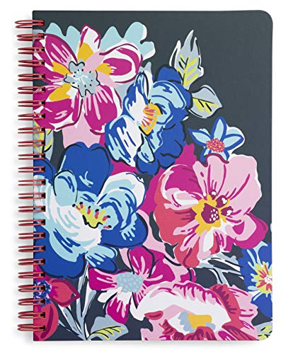 """Vera Bradley Floral Mini Spiral Notebook, 8.25"""" x 6.25"""" with Pocket and 160 Lined Pages, Pretty Posies"""
